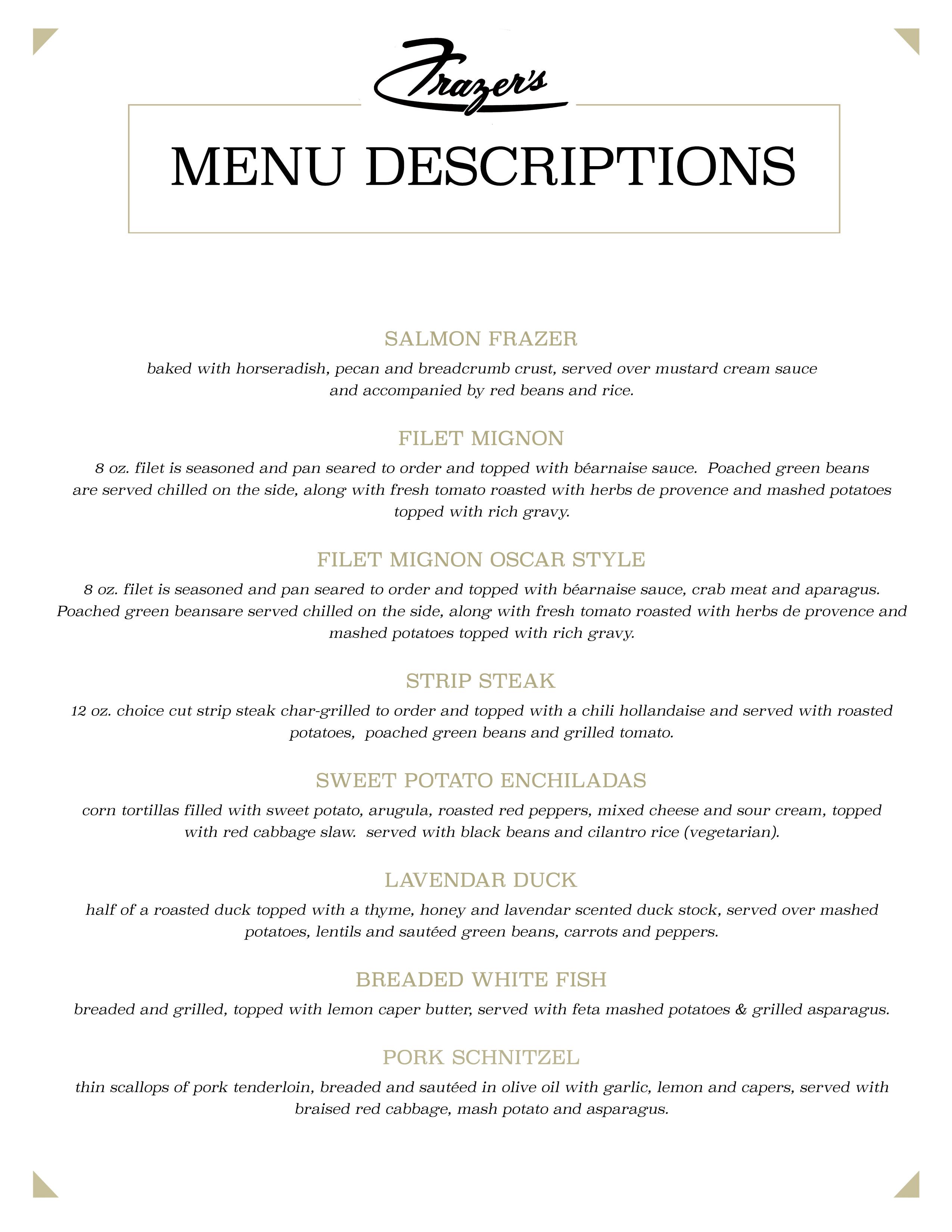 Menu Descriptions Frazer S Restaurant In Soulard